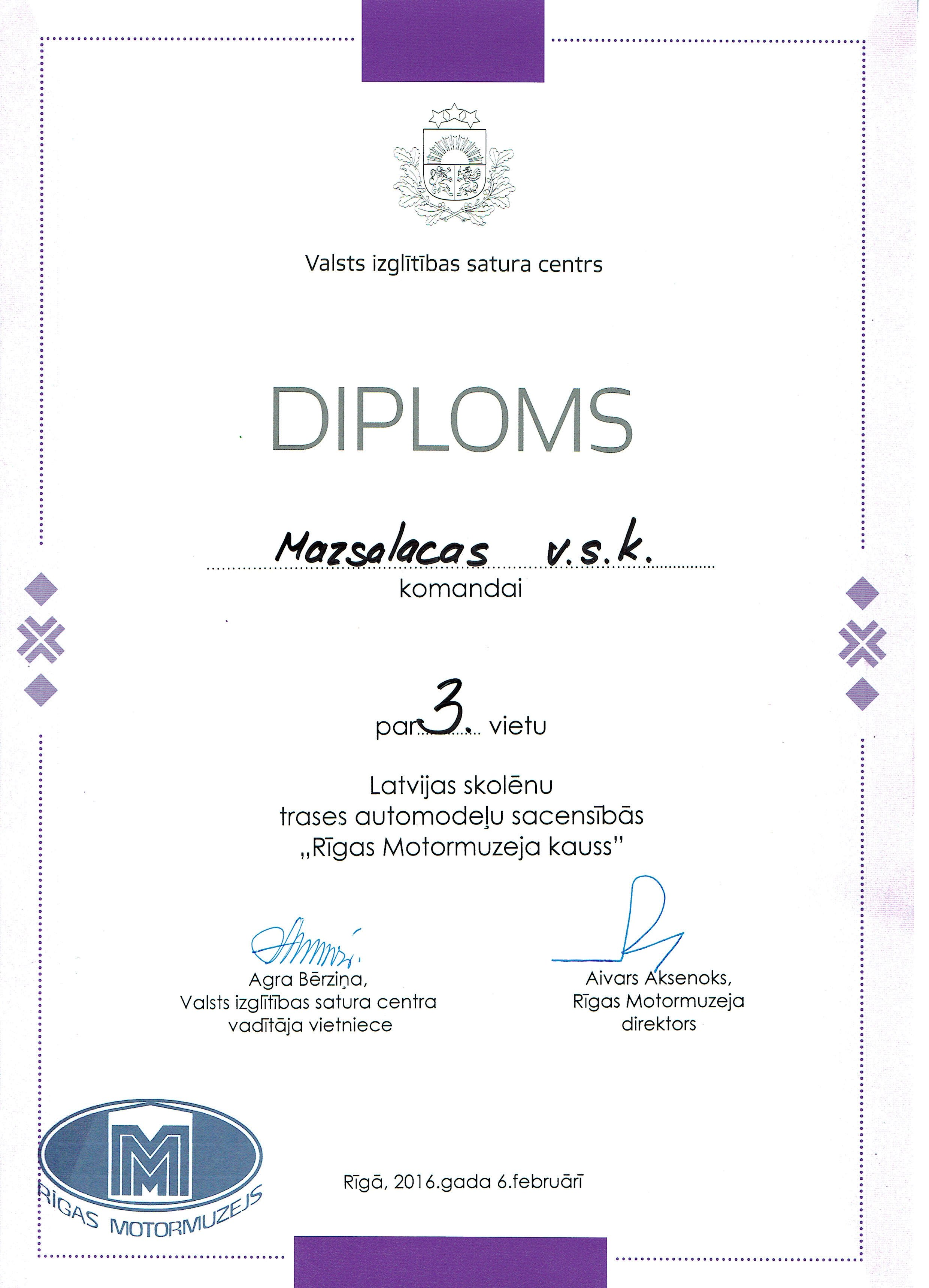 Tehnokauss 2016 diploms